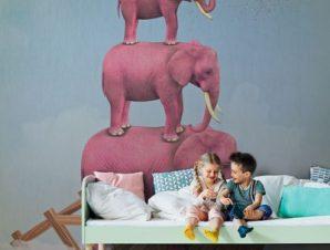 Ροζ ελέφαντες στον ουρανό Παιδικά Ταπετσαρίες Τοίχου 113 x 90 cm