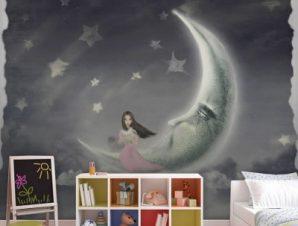 Κοπέλα στο φεγγάρι Παιδικά Ταπετσαρίες Τοίχου 103 x 100 cm