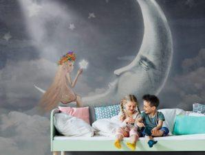 Κοπέλα παρέα με το φεγγάρι Παιδικά Ταπετσαρίες Τοίχου 102 x 100 cm