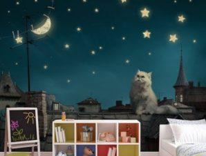 Γάτος την νύχτα Παιδικά Ταπετσαρίες Τοίχου 100 x 100 cm