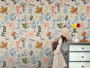 Μοτίβο λουλουδάκια και πουλιά Παιδικά Ταπετσαρίες Τοίχου 100 x 100 cm