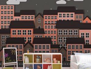 Νυχτερινό τοπίο Παιδικά Ταπετσαρίες Τοίχου 100 x 100 cm