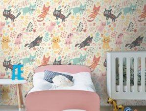 Αστείες γατούλες Παιδικά Ταπετσαρίες Τοίχου 100 x 100 cm