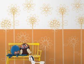 Πορτοκαλί λουλούδια Παιδικά Ταπετσαρίες Τοίχου 78 x 120 cm