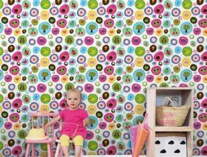 Παιδικό μοτίβο με φρούτα και ζωάκια Παιδικά Ταπετσαρίες Τοίχου 85 x 110 cm
