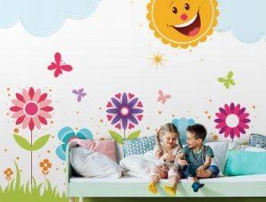 Ήλιος στον κήπο Παιδικά Ταπετσαρίες Τοίχου 85 x 110 cm