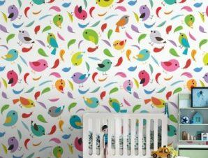 Πολύχρωμα χαριτωμένα πουλάκια Παιδικά Ταπετσαρίες Τοίχου 85 x 110 cm