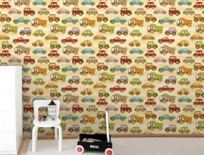 Μοτίβο με αυτοκινητάκια Παιδικά Ταπετσαρίες Τοίχου 85 x 110 cm