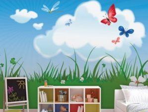 Γρασίδι με πεταλούδες Παιδικά Ταπετσαρίες Τοίχου 79 x 120 cm