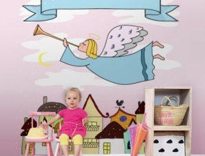 Άγγελος στην πόλη Παιδικά Ταπετσαρίες Τοίχου 100 x 100 cm