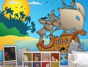 Ναυάγιο σε βράχια Παιδικά Ταπετσαρίες Τοίχου 89 x 115 cm
