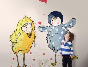 Παιδάκια ντυμένα ζωάκια Παιδικά Ταπετσαρίες Τοίχου 114 x 95 cm