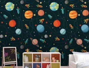 Μοτίβο με πλανήτες Παιδικά Ταπετσαρίες Τοίχου 100 x 100 cm