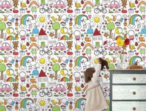 Πολύχρωμη Ζωγραφιά Παιδικά Ταπετσαρίες Τοίχου 100 x 100 cm