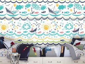 Ζωγραφιά Με Βάρκες Παιδικά Ταπετσαρίες Τοίχου 100 x 100 cm