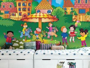 Παιδιά γύρω από καρουζέλ Παιδικά Ταπετσαρίες Τοίχου 85 x 120 cm