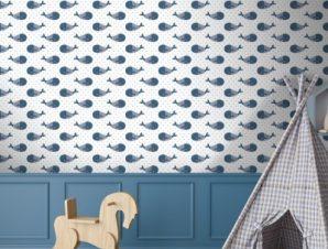 Μοτίβο με φάλαινες Παιδικά Ταπετσαρίες Τοίχου 100 x 100 cm