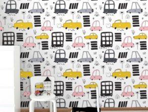Πολύχρωμα Αυτοκινητάκια Παιδικά Ταπετσαρίες Τοίχου 100 x 100 cm