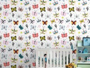 Πολύχρωμες Πεταλούδες Παιδικά Ταπετσαρίες Τοίχου 100 x 100 cm