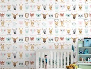 Πολύχρωμα Ζωάκια Παιδικά Ταπετσαρίες Τοίχου 110 x 110 cm