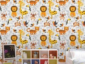Μοτίβο με ζωάκια ζούγκλας Παιδικά Ταπετσαρίες Τοίχου 105 x 105 cm