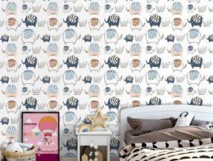 Ελεφαντάκια Παιδικά Ταπετσαρίες Τοίχου 100 x 100 cm