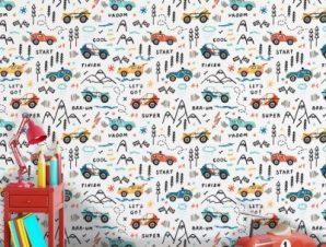 Αγώνας δρόμου αυτοκινητάκια Παιδικά Ταπετσαρίες Τοίχου 100 x 100 cm