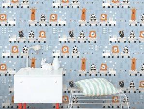 Ζωάκια Σε Τρενάκι Παιδικά Ταπετσαρίες Τοίχου 100 x 100 cm