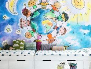 Γύρος του κόσμου Παιδικά Ταπετσαρίες Τοίχου 88 x 130 cm