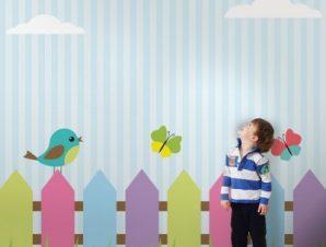 Χρωματιστά Πουλάκια Παιδικά Ταπετσαρίες Τοίχου 80 x 80 cm