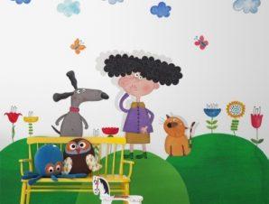 Πολύχρωμη φύση Παιδικά Ταπετσαρίες Τοίχου 97 x 110 cm