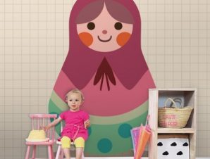Μπαμπούσκα ροζ Παιδικά Ταπετσαρίες Τοίχου 100 x 100 cm