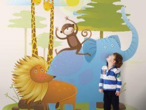 Ζωάκια της ζούγκλας Παιδικά Ταπετσαρίες Τοίχου 100 x 100 cm