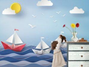 Χάρτινες βαρκούλες στη θάλασσα Παιδικά Ταπετσαρίες Τοίχου 86 x 120 cm