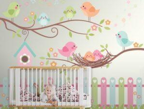 Happy Birds Παιδικά Ταπετσαρίες Τοίχου 84 x 110 cm
