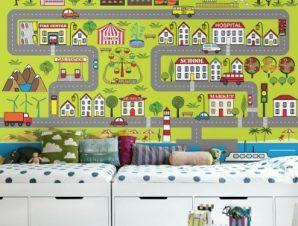 Μικρός xάρτης πόλης Παιδικά Ταπετσαρίες Τοίχου 92 x 130 cm