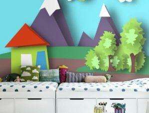 Σπιτάκι στην εξοχή Παιδικά Ταπετσαρίες Τοίχου 80 x 120 cm