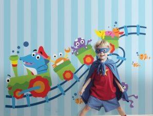 Τρενάκι Παιδικά Ταπετσαρίες Τοίχου 105 x 120 cm