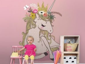 Ροζ μονόκερος Παιδικά Ταπετσαρίες Τοίχου 122 x 110 cm