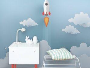 Πύραυλος στα σύννεφα Παιδικά Ταπετσαρίες Τοίχου 74 x 120 cm