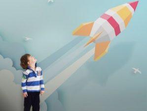 Εκτόξευση Πυραύλου Παιδικά Ταπετσαρίες Τοίχου 80 x 120 cm