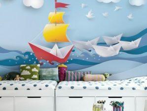 Βάρκες Στην Θάλασσα Παιδικά Ταπετσαρίες Τοίχου 82 x 120 cm