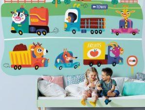 Ζωάκια Με Αυτοκίνητα Παιδικά Ταπετσαρίες Τοίχου 80 x 120 cm