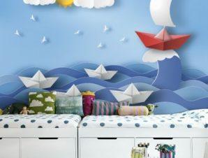 Καραβάκια σε φουρτουνιασμένη Θάλασσα Παιδικά Ταπετσαρίες Τοίχου 81 x 130 cm