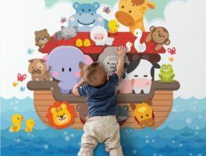 Ζωάκια Πάνω Στην Βάρκα Παιδικά Ταπετσαρίες Τοίχου 100 x 100 cm