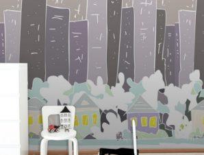 Γκρίζα Πόλη Παιδικά Ταπετσαρίες Τοίχου 98 x 98 cm