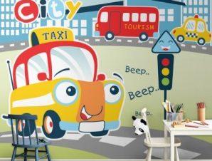 Busy city Taxi Παιδικά Ταπετσαρίες Τοίχου 88 x 110 cm