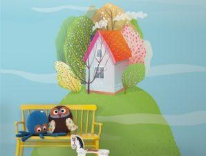 Σπιτάκι Σε Λόφο Παιδικά Ταπετσαρίες Τοίχου 100 x 100 cm