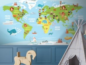 Funny World s Map Παιδικά Ταπετσαρίες Τοίχου 106 x 140 cm