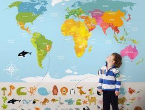 Χάρτης Με Ζωάκια Παιδικά Ταπετσαρίες Τοίχου 99 x 110 cm
